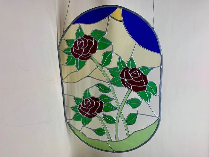 large stained glass flowers scene - Glass (stained glass)