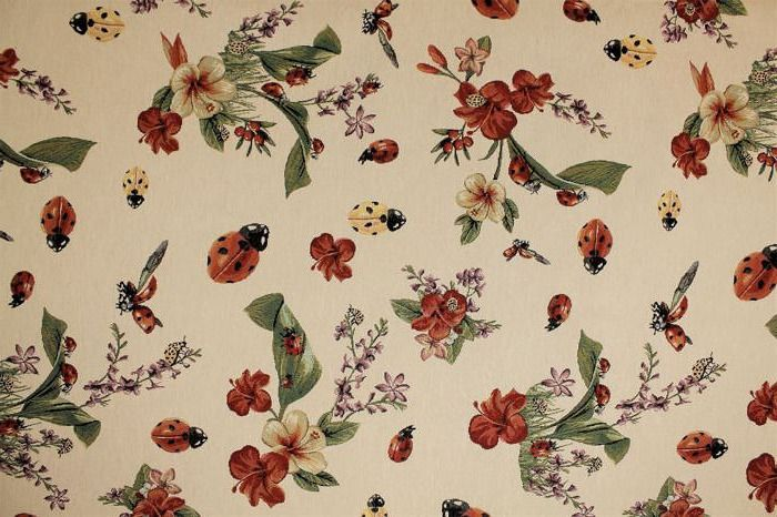 Gobelin fabric vintage fantasy flowers and ladybugs - Naive Art - cotton blend, textile, canvas, stoff, tissu, texture - After 2000