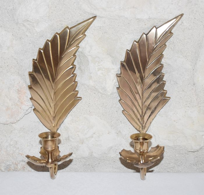 Feathered Wall Candle Holders (2) - Brass