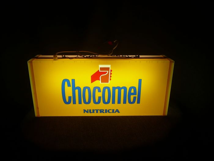 API-Neon - old advertising light box double sided Chocomel and Fristi - plastic