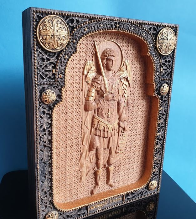 "Icon, Orthodox "" Archangel Michael"" carved  - Wood- Oak"
