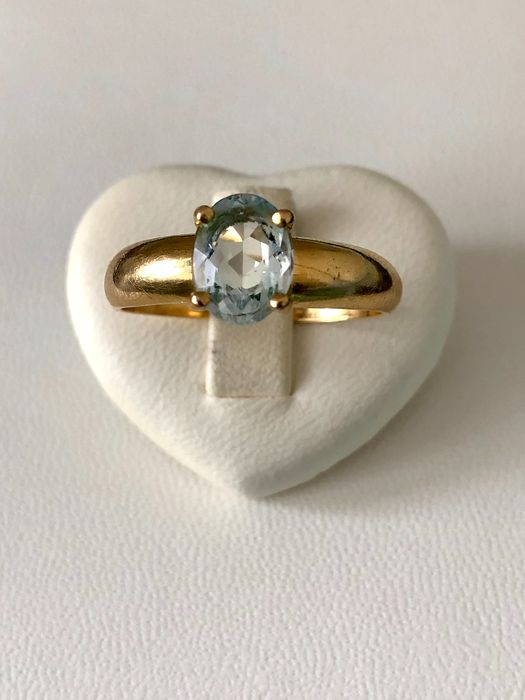 18 kt. Gold - Ring - Aquamarine
