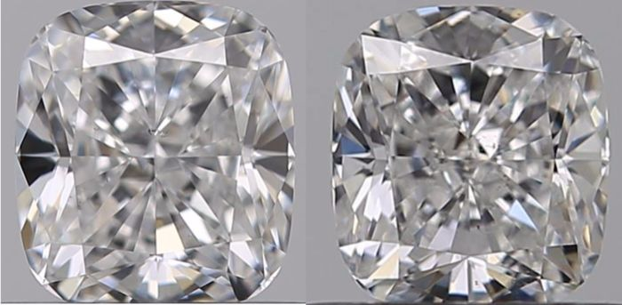 2 pcs Diamonds - 0.62 ct - Cushion - D (colourless), E - SI1