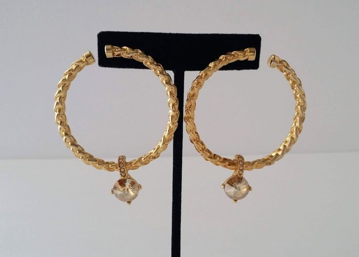 Oscar De La Renta Crystal Hoop Post Earrings