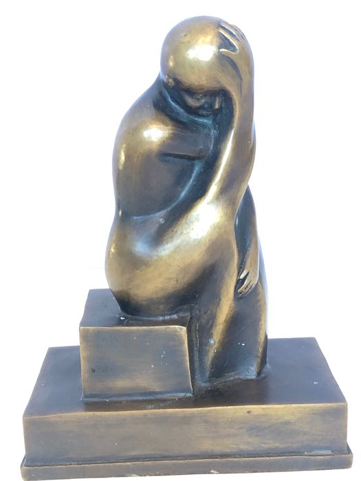 Abstract Bronze statue of thinker