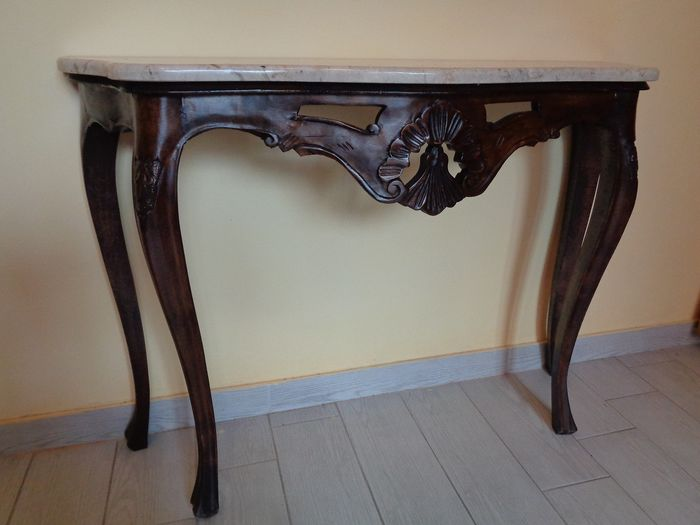 Hand carved solid walnut console tables with marble top