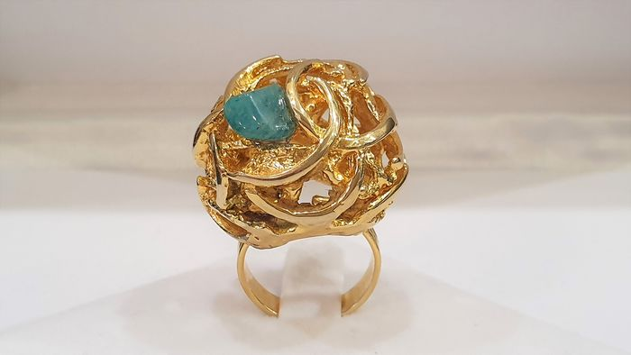 TORTOLANI 18kt gold plated - modernist Coctail Ring with Jade