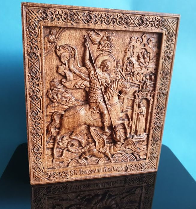 Icon,  Saint George, Russian carved  - Byzantine - wood oak