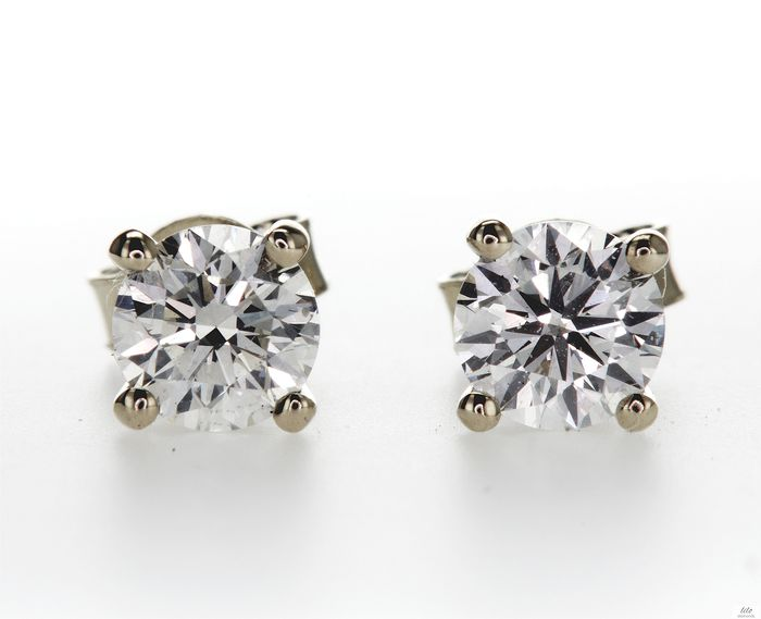 14 kt. Yellow gold - Earrings - 0.82 ct Diamond