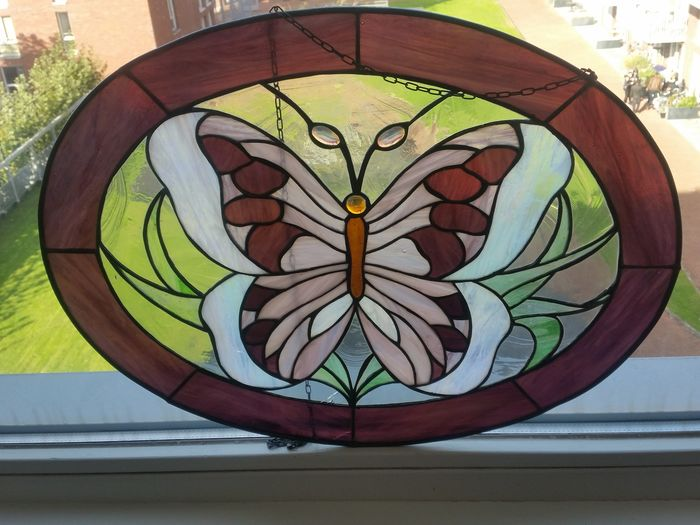 Glass in Lead Conversion Window - Tiffany Style - Butterfly - Glass (stained glass)