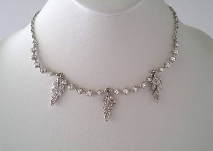 Givenchy Swarovski Crystal Three Leaves Necklace