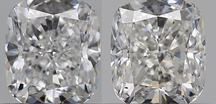 2 pcs Diamonds - 0.62 ct - Cushion - E, F - SI1
