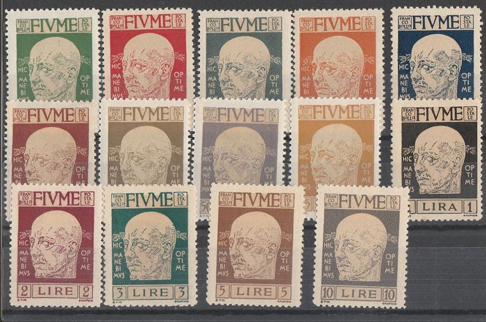 """Fiume 1919/1920 - Set of the period and 45 on 6 f. green and red overprinted """"franco 45"""" on envelope - Sassone NN. S9, S14, S16, N. 29"""