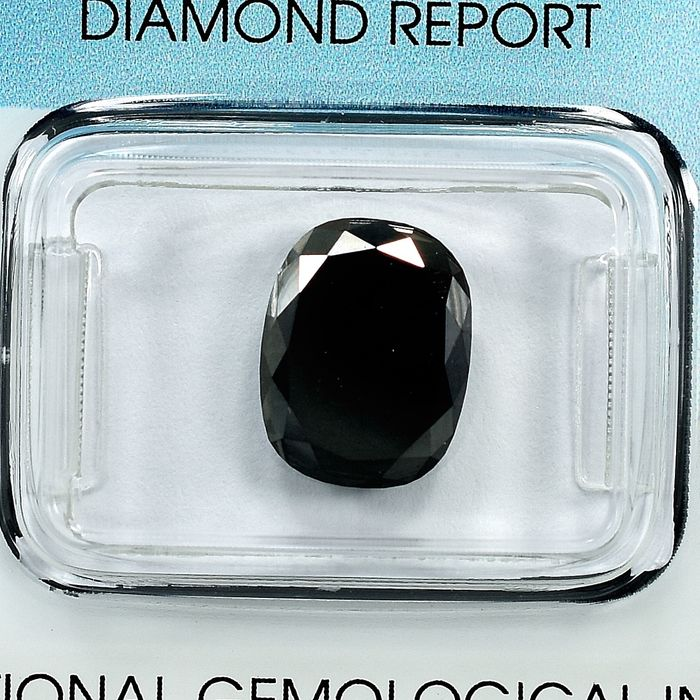 Diamant - 3.51 ct - Coussin - Black - N/A
