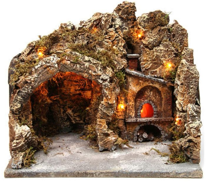 Nativity scene with cave and illuminated oven - Folk Art - Wood, Cork and electrical equipment