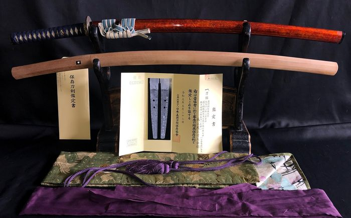 Japanese samurai sword - Tamahagane stem - A  signed and dated koto katana, signature Noshu Seki-ju Kanemichi Saku With the NBTHK Hozon paper. - Japan - 15th century