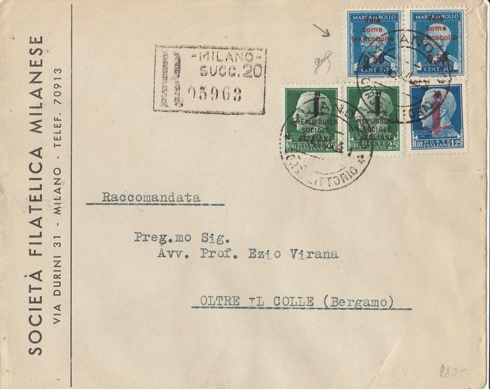 "Italy 1944 - R.S.I: 25 c. green + 1.25 l. light blue + 50 c. light blue ""Marchetto"" on envelope from Milan to - Sassone NN. .491-495 -Marchetto N. 128"