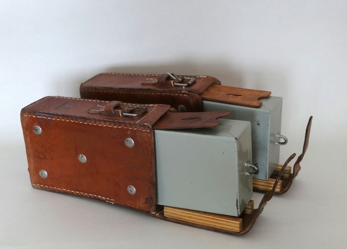 Bank chests (2) - Leather, Steel (stainless)