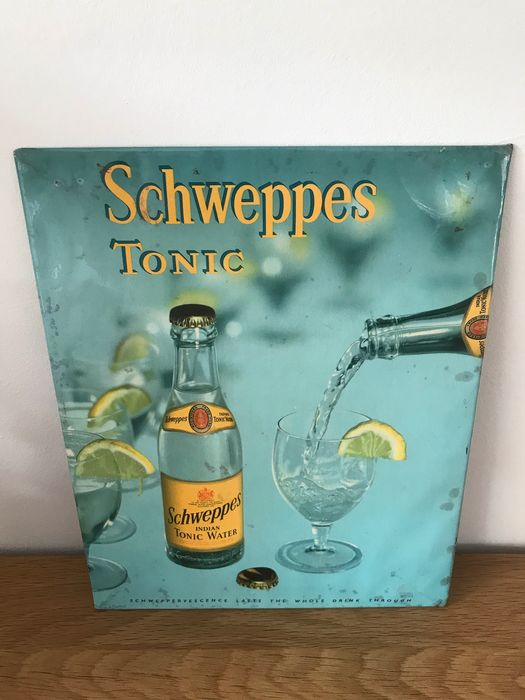 Schweppes 1963 metal billboard + hardboard (back) unique (1) - Metal and hardboard (rear)