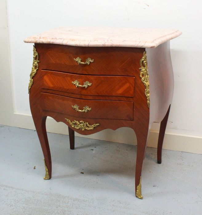 Curved chest of drawers with marble top - Louis XV Style