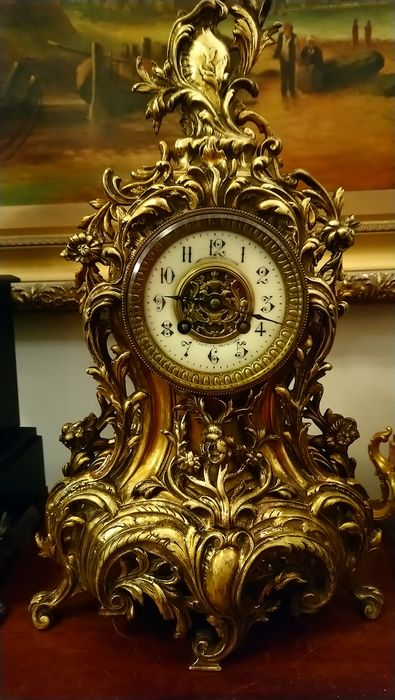 Clock - Bronze (gilt/silvered/patinated/cold painted) - Second half 19th century