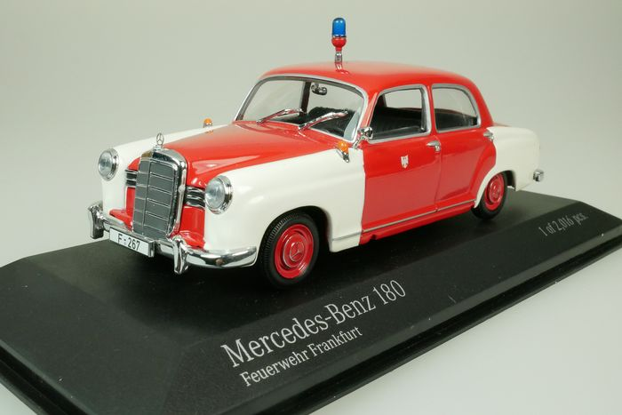 MiniChamps - 1:43 - Mercedes Benz 180 Fire Brigade - Feuerwehr Frankfurt Germany - 1956 - red - white