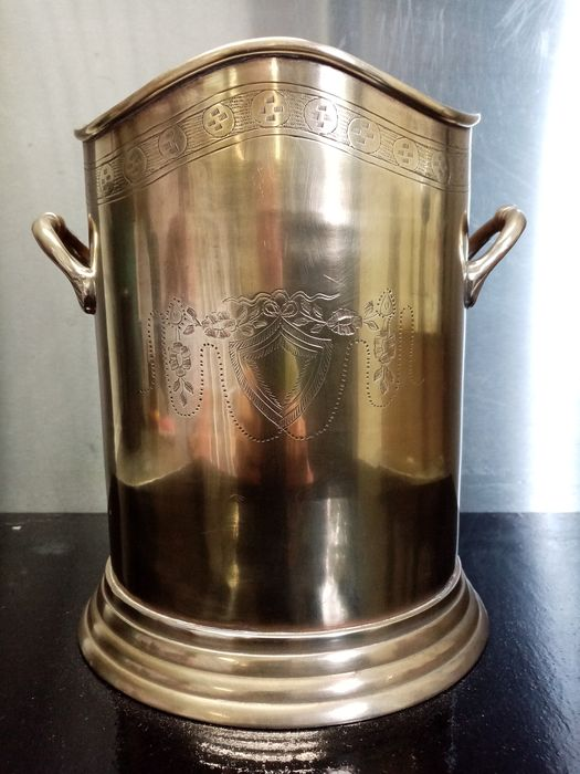 Champagne bucket with engraving - Art Deco - Brass