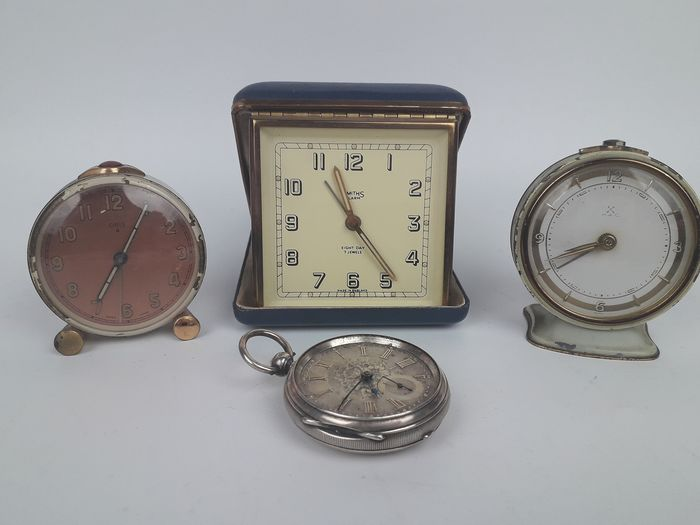 Selection of Vintage Alarm Clocks Including Sterling Pocket Watch - Silver, Steel - 20th century