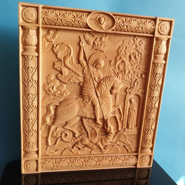 Icon,  Saint George, Russian carved  - Byzantine - wood alder