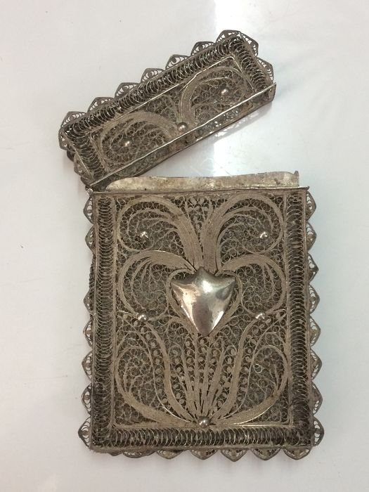 Silver - RARE Card Holder Silver Wild Boar - Filigree (Hand made) - Late 19th Century