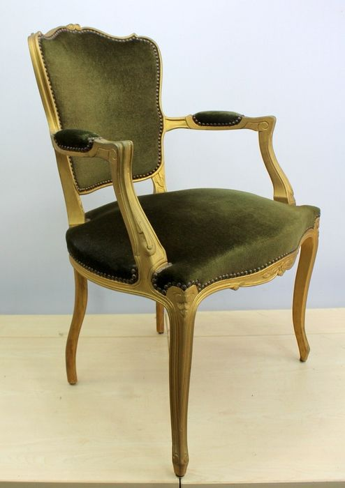 Vintage ladies chair with green upholstery - beech wood