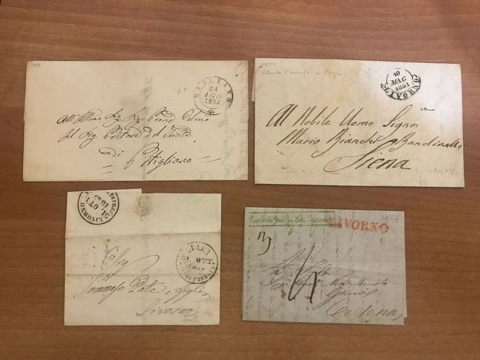 Italy 1797/1860 - Lot of 32 prephilatelic and not stamped letters of Tuscany, the Marches, Emilia, Latium - aspot