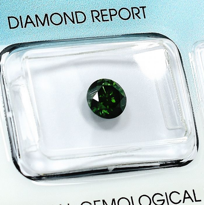 Diamant - 0.93 ct - Briljant - Fancy Intense Green - P1
