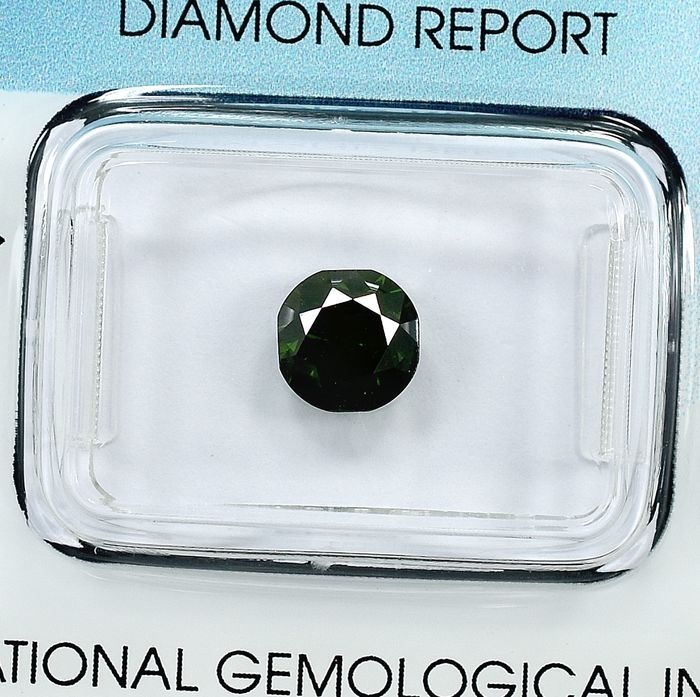 Diamant - 1.30 ct - Cushion - Fancy Deep Green - I1 - NO RESERVE PRICE