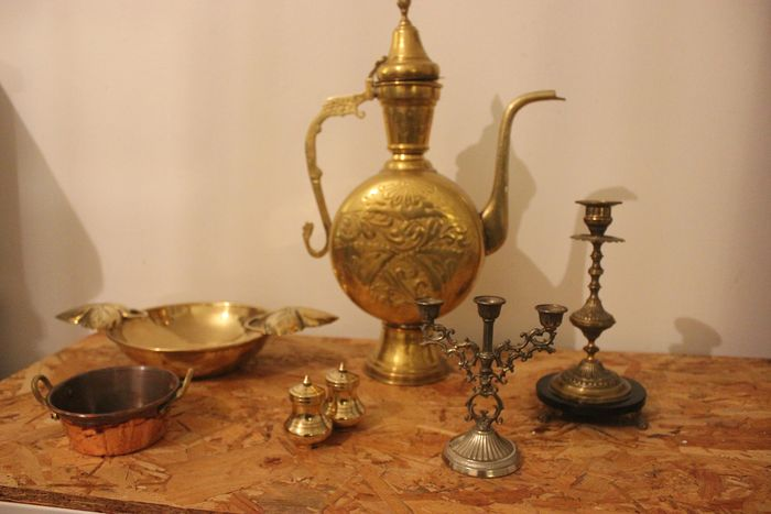 Lot table objects of various material (brass, copper, etc.) - Brass, Copper, autre