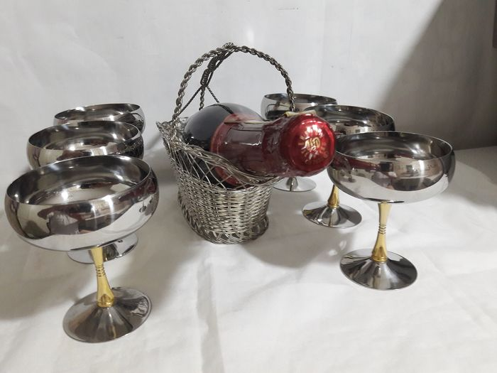 Wine basket and steel stemware with golden stem (7) - Silverplate, Steel