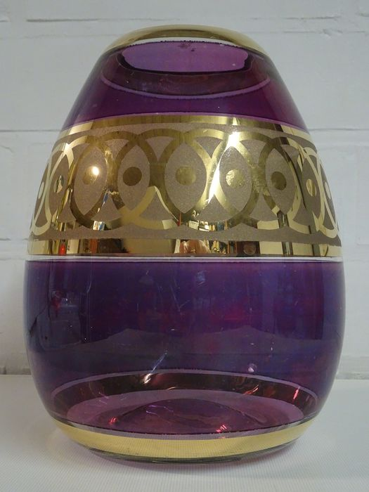 Paul Heller - Booms glas - Special purple Art Deco vase, Luster decor
