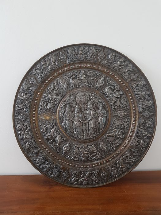Superb big old dish INDIA Silver repoussé on copper (250) - Copper, Silver - India - Early 20th century
