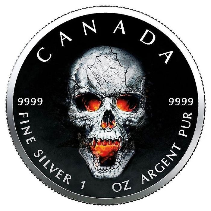 "Canada - 5 Dollars 2019- Maple Leaf-""Skull""-  1 oz - Silver"