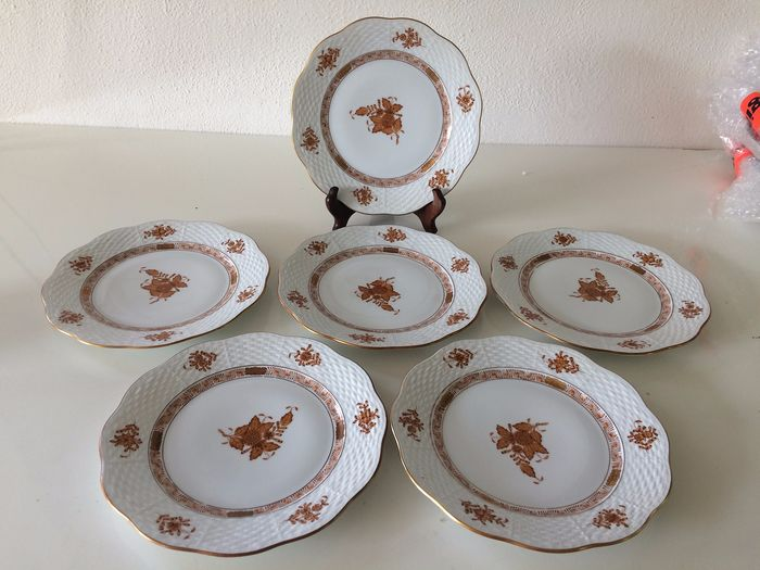 Herend - Apponyi rusty brown plates (6) - Porcelain