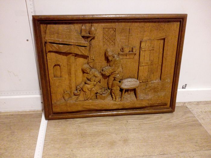 Beautiful antique wood carving painting - Wood