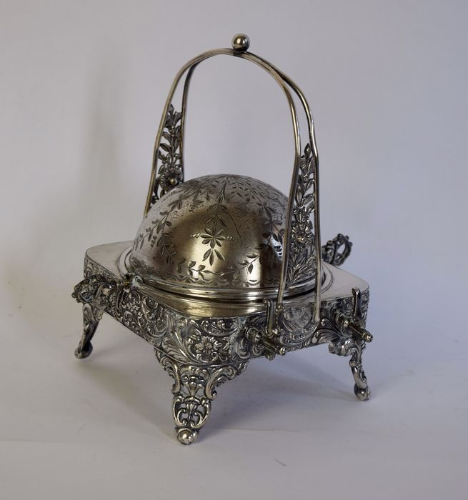 Caviar or butter holder with roll top - Art Nouveau style - Silver plated