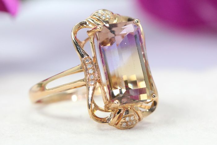 18 kt. Yellow gold - Ring - 8.00 ct Ametrine - Diamonds