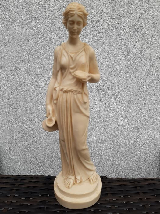 Statue - Goddess of youth - A.Santini - Alabaster, Resin/Polyester