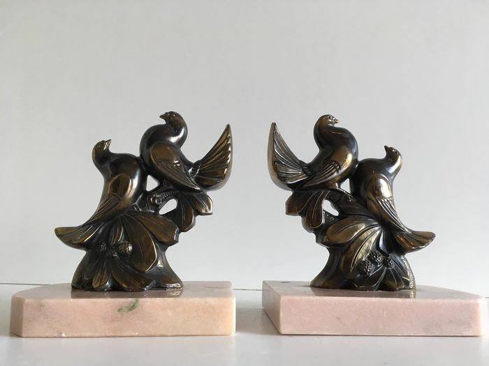 Bookends with lovebirds - Marble, Zamac