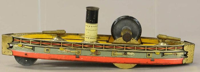 . - Nave -Very rare--The largest flyheel powered battleship  made by Hess - . - 1910-1919 - Germany - with two cannons