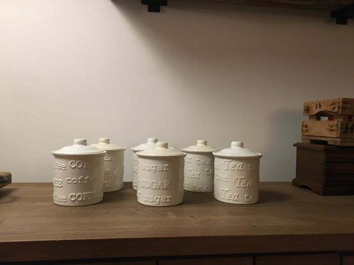 sugar tea and coffee storage jars (6) - Ceramic