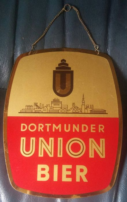 "I.B - C.R. DOLD. Offenburg - Rare and old advertising plate ""U"" Dortmunder UNION BIER - Copper"