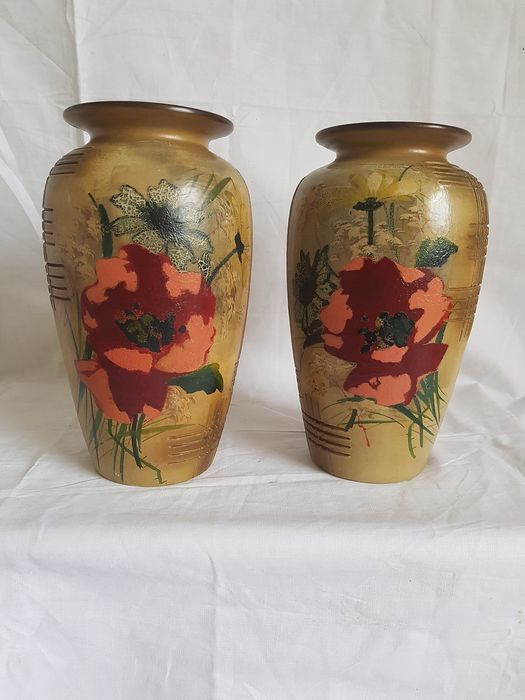 Louis Giraud - Vallauris France - a pair of vases (2) - Earthenware