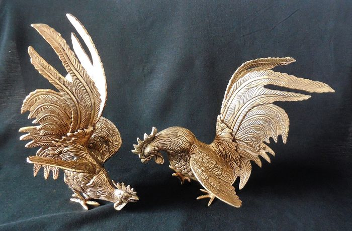 2 gold-colored ruffs - decorative table pieces - in excellent condition - Copper / Brass
